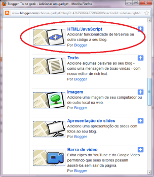 Widgets do Facebook no blogger - HTML/Javascript, janela de widget no blogger
