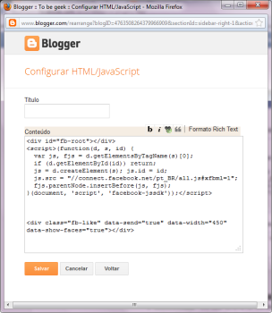 widget do Facebook para blogger - Caixa de HTML/Javascript no blogger