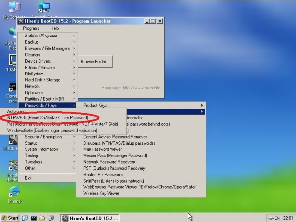 reset password hirens boot HBCD menu - programs - password key - windows login